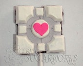 6 Portal Companion Cube chocolate lollipops
