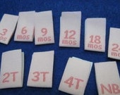 100pcs Damask Woven Size Labels ( Pink background with Hot Pink text ) Free Shipping