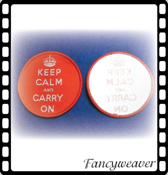 10pcs Keep Calm and Carry On Woven Badge  - Free Shipping