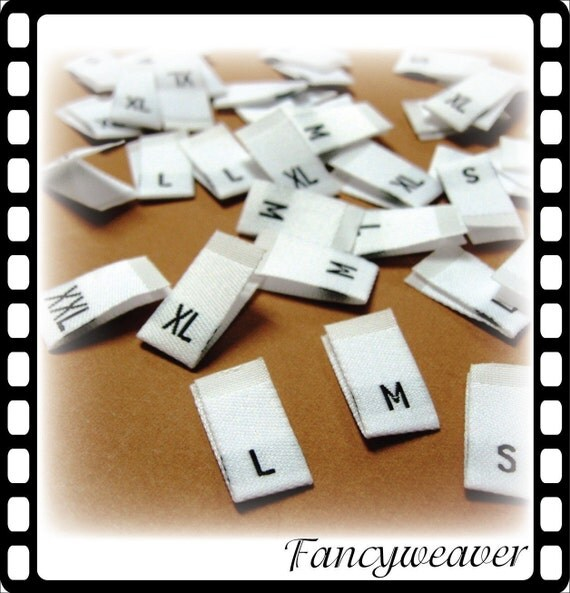 100pcs Damask Woven Size Labels ( White background with Black letter ) Free Shipping