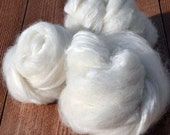 White Spinning Art Roving - Winter's Dreams, alpaca, falkland, angora and bamboo (2 oz)
