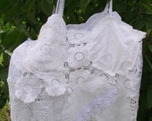 Ladies tank..white..vintage doiley..lace..tunic