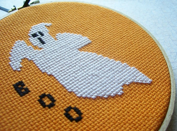 50% OFF SALE - Glow-in-the-Dark Ghost Cross Stitched Wall Art or Ornament - Hoop Art