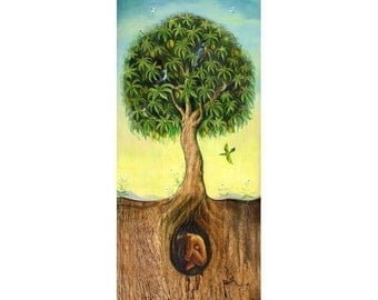 "Tree of Life Print  11x4.2 on 11x14""paper"