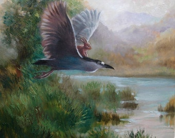 Isabella and Night Heron Print from oil  painting by David Joaquin Bunny adventure animal portrait