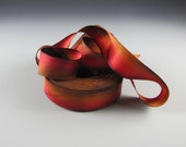 "Hanah 1"" Wide  Silk Satin Ribbon Amber 3 Yard Length"