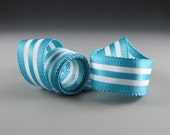"Satin Striped Ribbon  Turquoise and White  Picot Edge 1 1/4"" Wide3 Yard length"