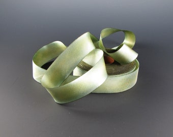 "1"" SILK WEDDING RIBBON Hanah Silk Satin  Willow Green  3 yards"