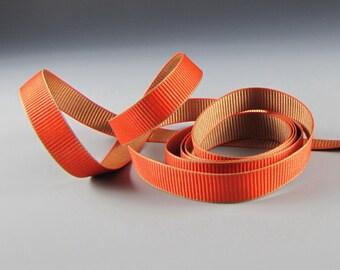 "5/8"" FALL WEDDING DECOR Reversible Grosgrain Ribbon  Pumpkin and Cinnamon Wholesale"