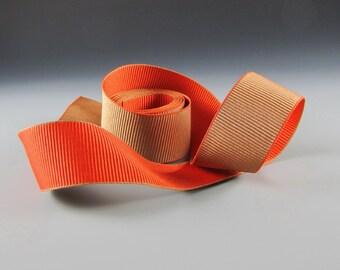 "1.25"" Pumpkin Orange Tan FALL DECOR ACCESSORIES Reversible Grosgrain Ribbon  Wholesale"
