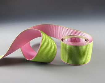 """5/8"""" and 1.25"""" GROSGRAIN RIBBON Pink and Green"""