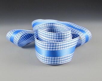 "1.5"" BLUE  and WHITE GINGHAM Check Satin Stripe Ribbon"
