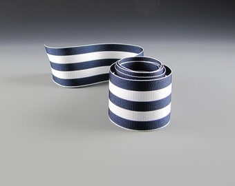 "NAVAL WEDDING RIBBON Navy and White Grosgrain Bold Stripes 1.5"""