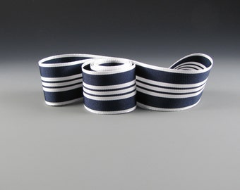 "Navy and White Grosgrain Ribbon Tuxedo 1 1/2"" Wide  3 yd length"