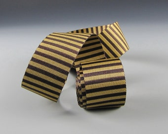 """1 1/4"""" CANDY BOX WRAP  Vertical Striped Ribbon Chocolate and Antique Gold"""
