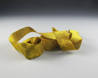 "SILK DUPIONI Antique Gold RIBBON Midori 3/4"" wide 3 yd length"