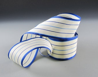 "1 3/8"" BLUE & WHITE TICKING Ribbon Taffeta Wholesale"