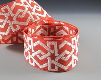 "1 5/8"" HANDBAG GUITAR STRAP  Amber Cream Geometric Jacquard Ribbon"