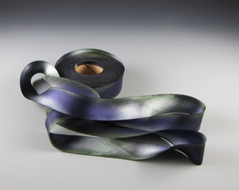 "Ribbon Hanah Silk Satin  Eggplant Olive 1"" Wide 3 yd length"