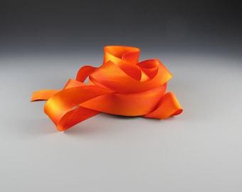 "1"" HAND PAINTED ORANGE  Armenian Wedding Hanah Silk Satin  California Poppy Orange 3 yd length"