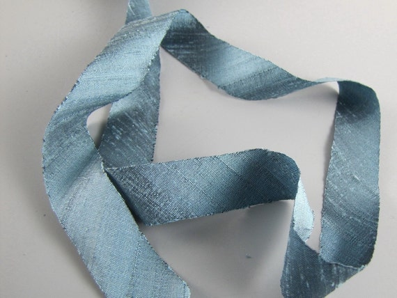 "Atlantic Ocean Blue 3/4"" Wide 3 Yard Length Silk Dupioni Ribbon"