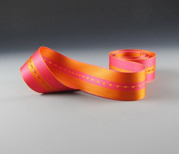 "1.25"" WEDDING DECOR Satin  RIBBON Fushcia Tangerine Reversible Wholesale"
