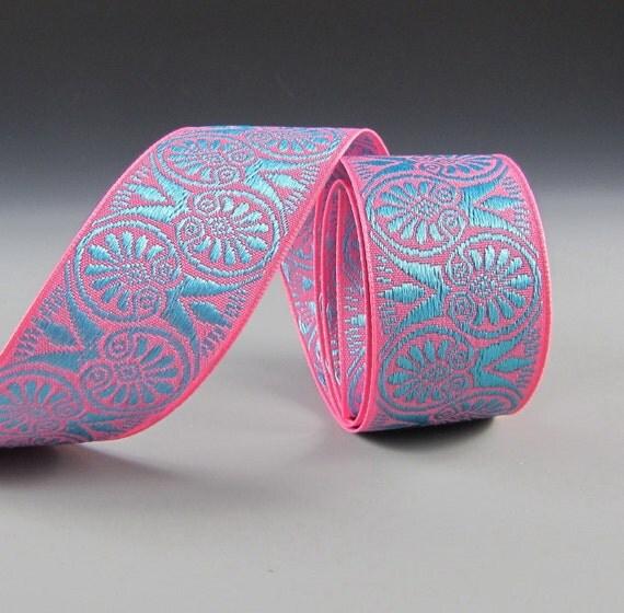 "1 5/8"" PET COLLAR RIBBON Pink and Aqua Jacquard Medallia 2 Yard Length"