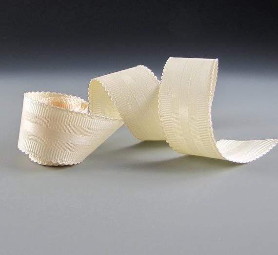 "Wedding Bouquet Ribbon Cream Satin Grosgrain Picot Edge 1 1/4"""