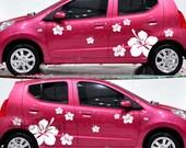 2 Sets Big Hibiscus Flowers Car Sticker Vinyl Decal