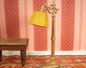 Vintage Tootsie Toy Dollhouse Lamp with Yellow Flocked Lampshade - One Half Scale