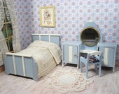 Wooden Dollhouse Bedroom Furniture in Blue - Made in Germany - One Inch Scale