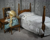 RESERVED ---  Halls Lifetime Toys Doll Bed and Bedding - Maple Finish - 12 1/2 Inches Long