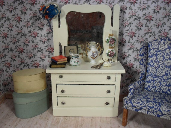 Vintage Wooden Dresser with Mirror and Three Drawers for  Dollhouse
