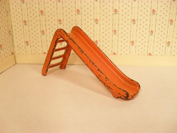 Reserved for H - Kilgore Iron Dollhouse Furniture - Orange Slide in Three Quarter Scale