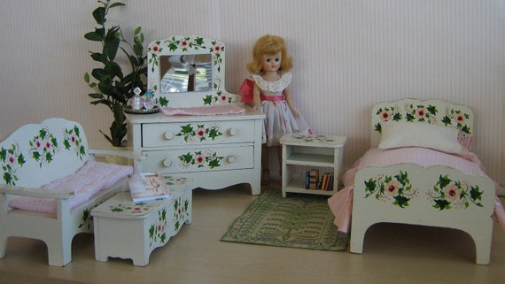 vintage 50s hand painted doll furniture bedroom group for 8