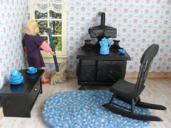 One Inch Scale Dollhouse Kitchen Pieces - Stove - Rocker