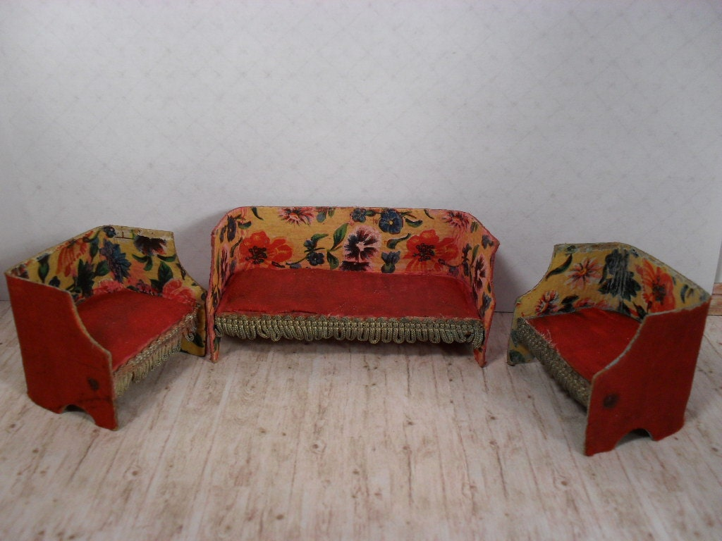 Vintage Cardboard Dollhouse Furniture Couch And Two Chairs