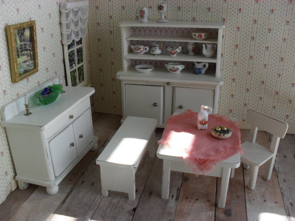 Vintage German Dollhouse Furniture Dining Room Or Kitchen