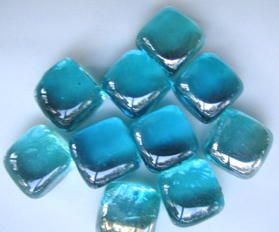 Turquoise Glass Cubes -- G56