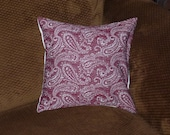Vintage Decorative Pillow 70s Polyester 12x12 Burgundy and White Paisley print OldSewnNew on Etsy
