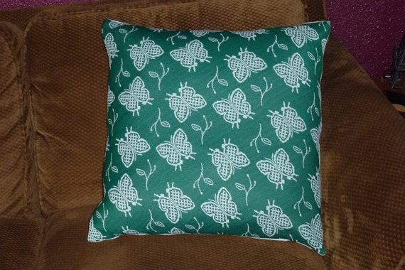 Decorative Pillow Cover 70s Vintage Polyester 20x20 Green and White Butterfly Print OldSewnNew on Etsy