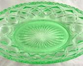 Imperial Glass Green Depression Glass Celery Dish Diamond Pattern