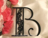 Damask Cake Topper - Wedding Cake Topper - Damask Personalized Monogram Letter Cake Topper - Scroll Cake Topper Bride and Groom