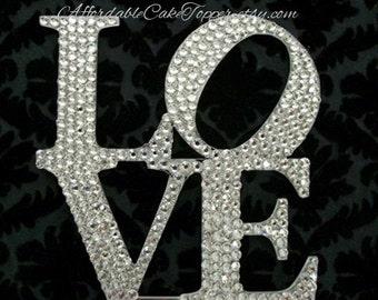LOVE Cake Topper - Custom Wedding Cake Topper - Crystal Cake Topper - Bride and Groom