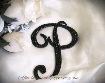 Black Cake Topper - Black Crystal Topper - Custom Wedding Cake Topper - Personalized Black Monogram Letter Cake Topper - Bride and Groom