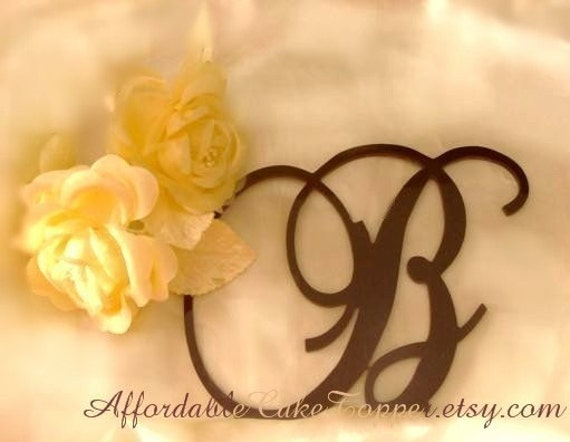 Brown Cake Topper - Wedding Cake Topper - Custom Brown Personalized Monogram Letter Cake Topper - Bride and Groom
