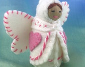 Valentine Heart Fairy Doll in Pink and White Candy Stripes-- Waldorf Inspired