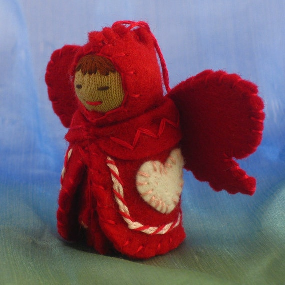 Valentine Heart Fairy Doll in Red and White Candy Stripes-- Waldorf Inspired