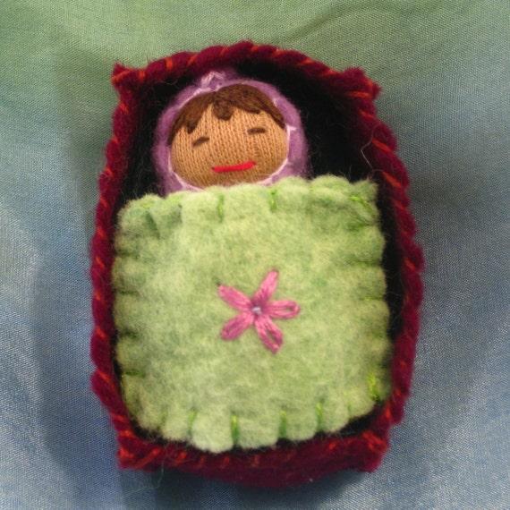Flower Box Baby Doll in Lavender Purple- Waldorf inspired