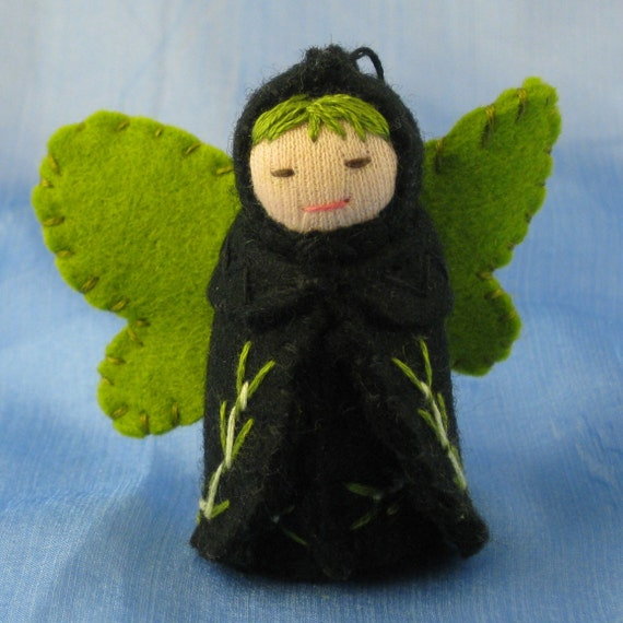 Green and Black Butterfly Fairy Doll- Waldorf Inspired